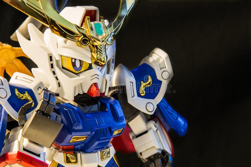 SINGAPORE-14 MAJ 2017: Sikt f?r closeup f?r Gundam leksaksk?rm royaltyfri fotografi