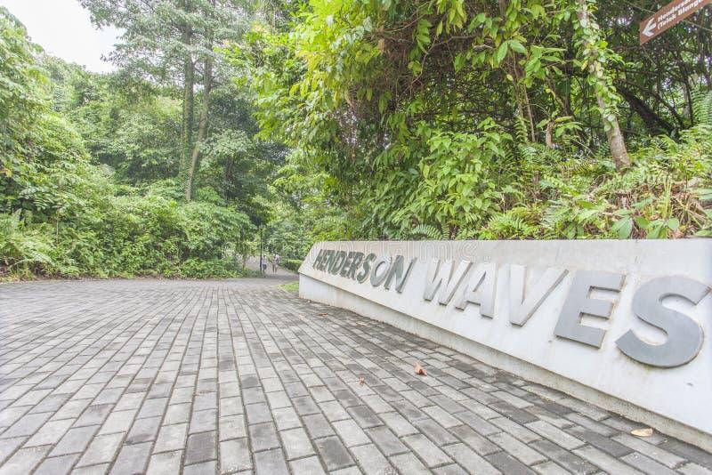 SINGAPORE - MAJ 21,2016: Singapore Henderson vågbro på Moun royaltyfria foton