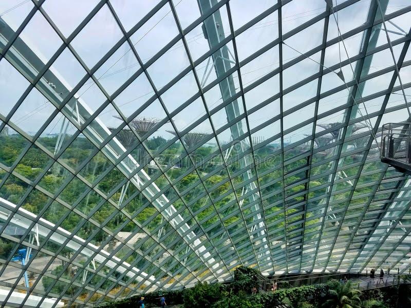 SINGAPORE - MAJ 7, 2017: Strukturen för utställning för molnskog- och blommakupol royaltyfria foton