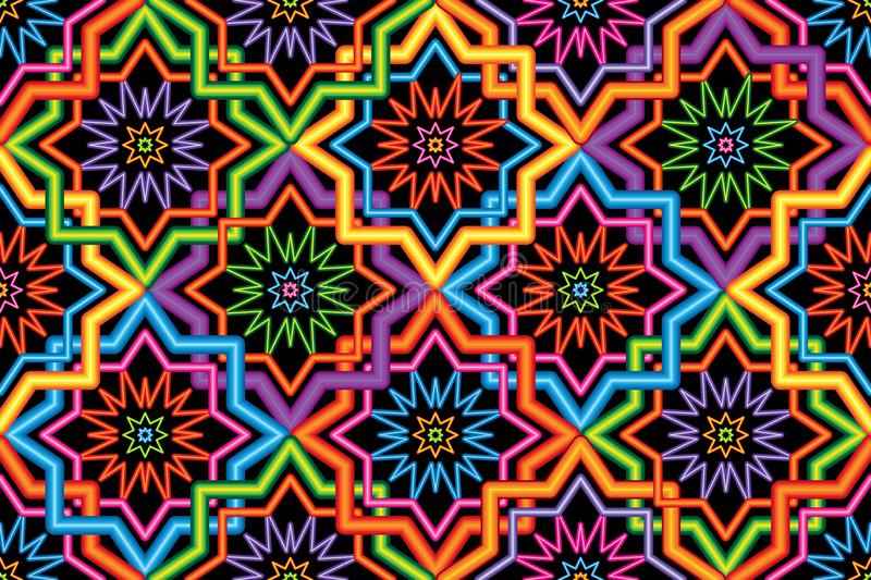 Singapore Malay Hari Raya Haji neon symmetry corner connect seamless pattern. This illustration is Singapore Malay style with wire lamp neon effect symmetry and stock illustration