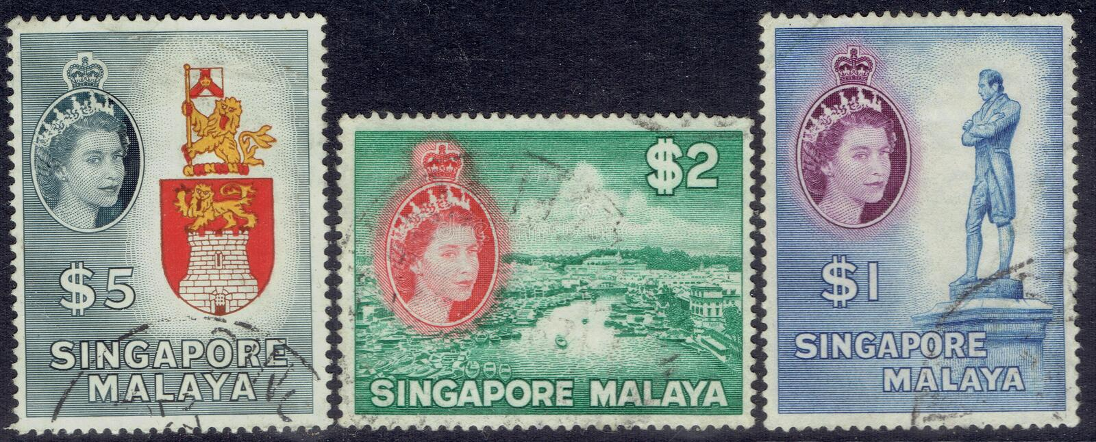 Postage stamps from Singapore: Queen Elizabeth the second $1, $2 and $5 stock photo