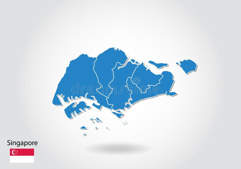 Singapore map design with 3D style. Blue Singapore map and National flag. Simple vector map with contour, shape, outline, on white vector illustration