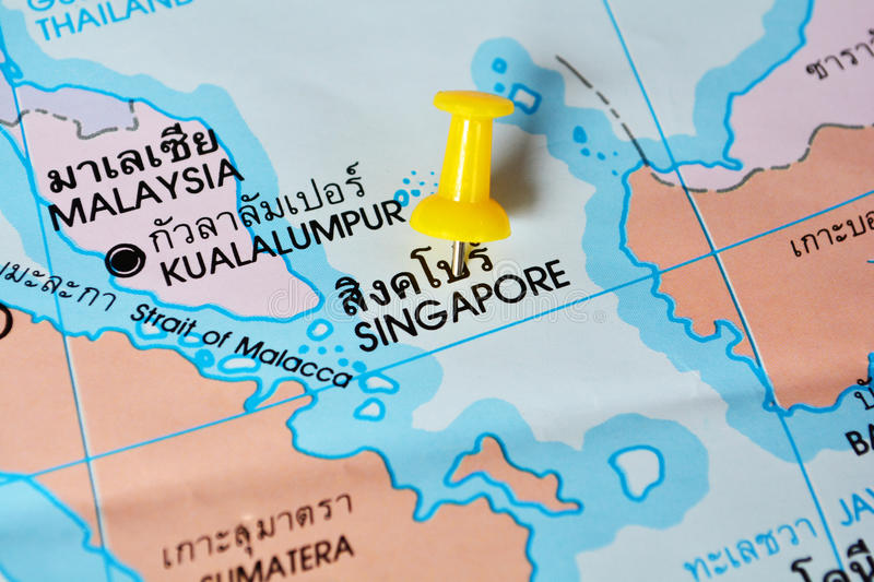 Singapore map. Macro shot of singapore map with push pin royalty free stock images