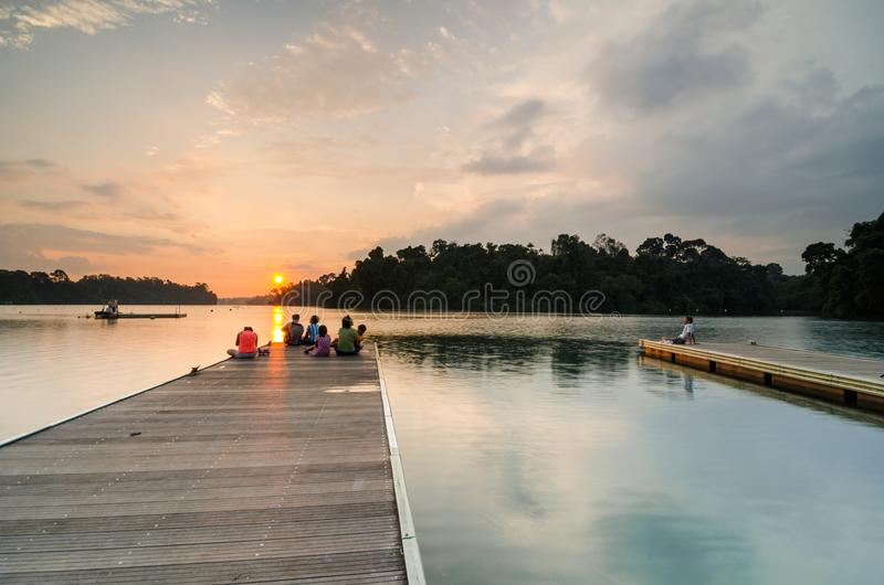 Beautiful sunset at MacRitchie Reservoir. Singapore, 31 Mar 2018: Beautiful sunset at MacRitchie Reservoir which is Singapore`s oldest reservoir completed in stock images
