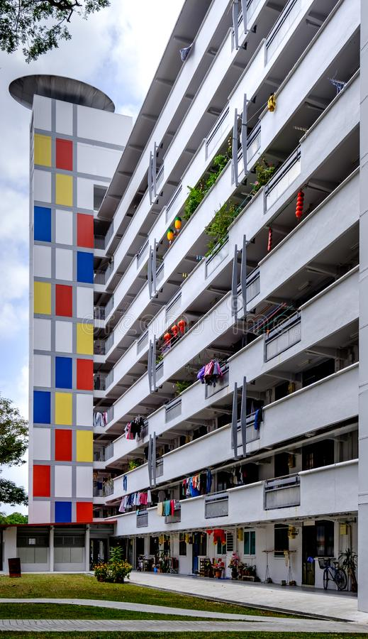 Singapore-02 MAR 2019:Singapore colorful style HDB residential building facade view stock images