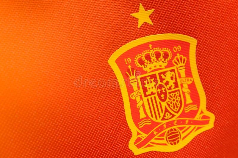Singapore-16 MAR 2018: logo of Spain National Football Team on Football Jersey. Singapore-16 MAR 2018:the logo of Spain National Football Team on Football Jersey stock photography