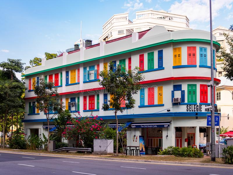 SINGAPORE, 17 MAR 2019 - Selegie Arts Centre, a historic and architecturally significant building in downtown Singapore. SINGAPORE, 17 MAR 2019 - Exterior shot stock image