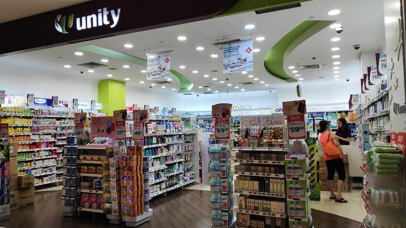 Unity Pharmacy shop in Singapore. SINGAPORE-24 MAR, 2019: Unity Pharmacy shop in Singapore. Unity Pharmacy was founded in 1992 to affordable range of healthcare royalty free stock photography