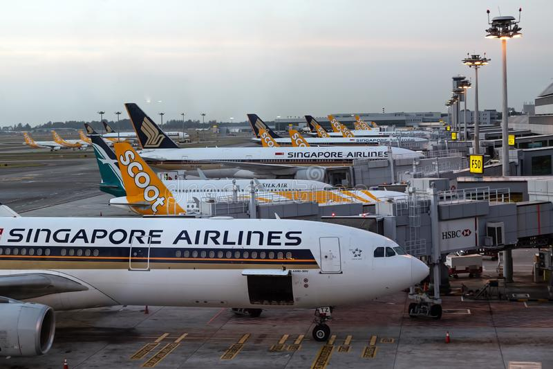 Singapore. March 2019. Changi International Airport. Terminal 2. Plane fleet at the airport. Planes are preparing for departure stock photo