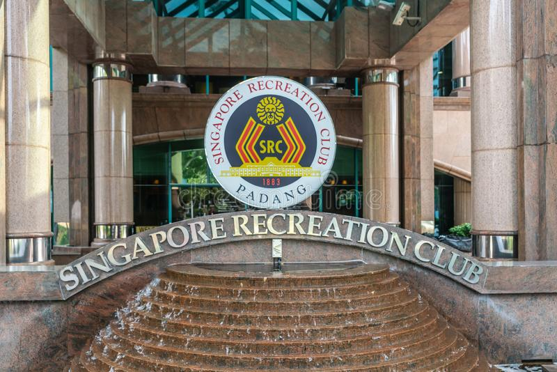 Entrance sign to Singapore Recreation Club, Singapore. Singapore - March 20, 2019: Closeup of sign standing on fountain at entrance of Singapore Recreation Club stock photo