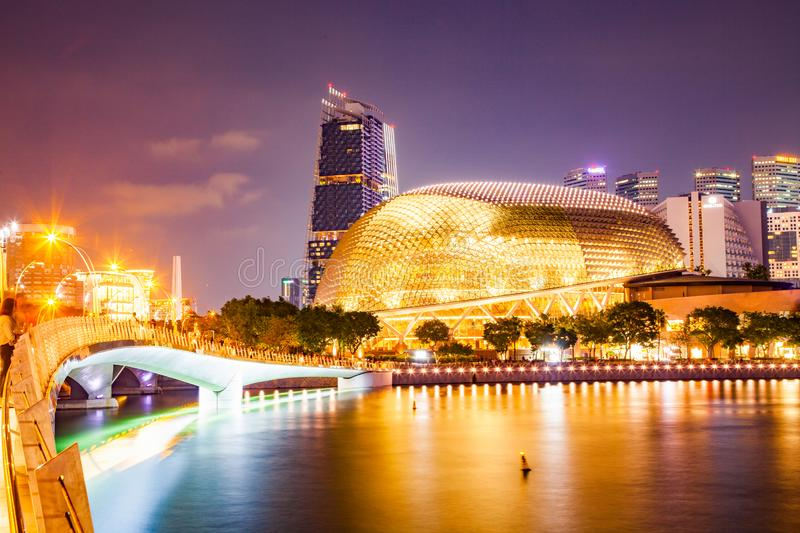 SINGAPORE, SINGAPORE - MARCH 2019: Esplanade bridge and esplanade theaters on the bay. Singapore stock photo