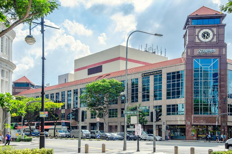 Stamford Road and Hill Street intersection in Singapore royalty free stock images