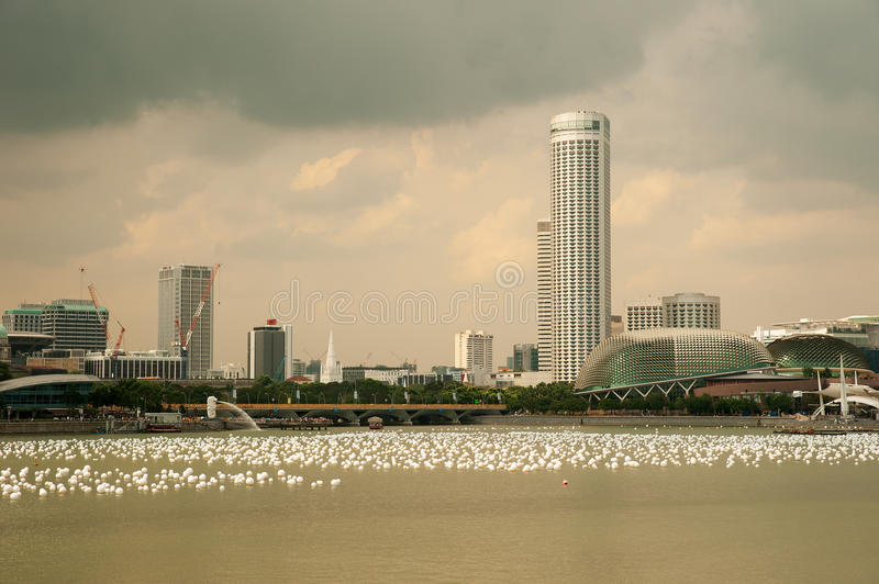 Singapore, Marina Bay - Januari 2012 Marina Bay inSingapore in Ja stock foto