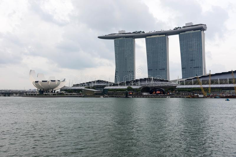 Singapore Marina Bay Sands hotel and River, Singapore, April 14, 2018 stock photography