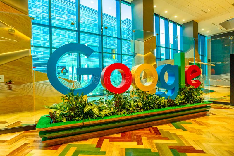 Singapore Google interior. Singapore - May 5, 2018: closeup of Google sign inside a new office to house fast growing team of engineers in Singapore. Google`s stock images