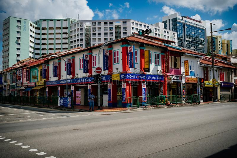 Singapore - May 16, 2018 : Coloreful of Little India Commercial Town. In broad daylight stock photos