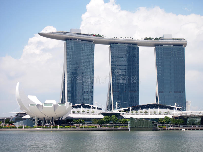 SINGAPORE - MAY 31, 2015: The Marina Bay Sands Resort Hotel in Singapore. It is an integrated resort and the world's most stock image
