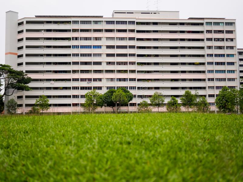 SINGAPORE – 3 MAY 2019 – An old block of government built public housing flats HDB flats in Singapore. SINGAPORE – 3 MAY 2019 – An old block of royalty free stock images