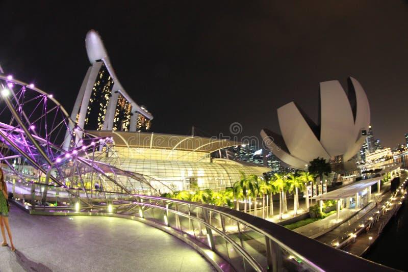 Singapore, mening van de Baai van Marina Bay bij nacht stock foto