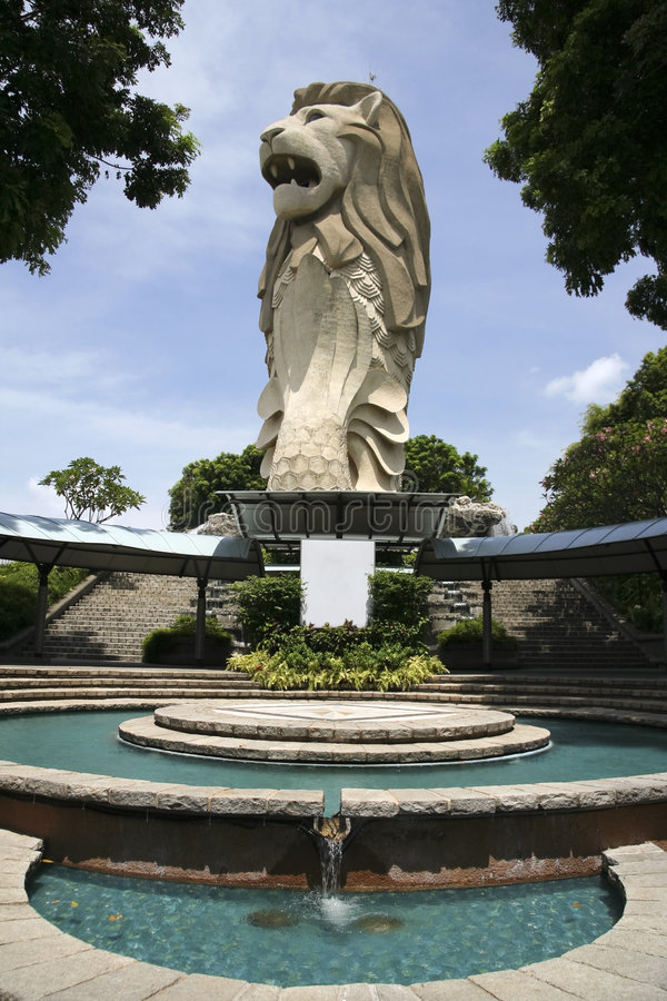 Singapore merlion statue fountain sentosa royalty free stock images