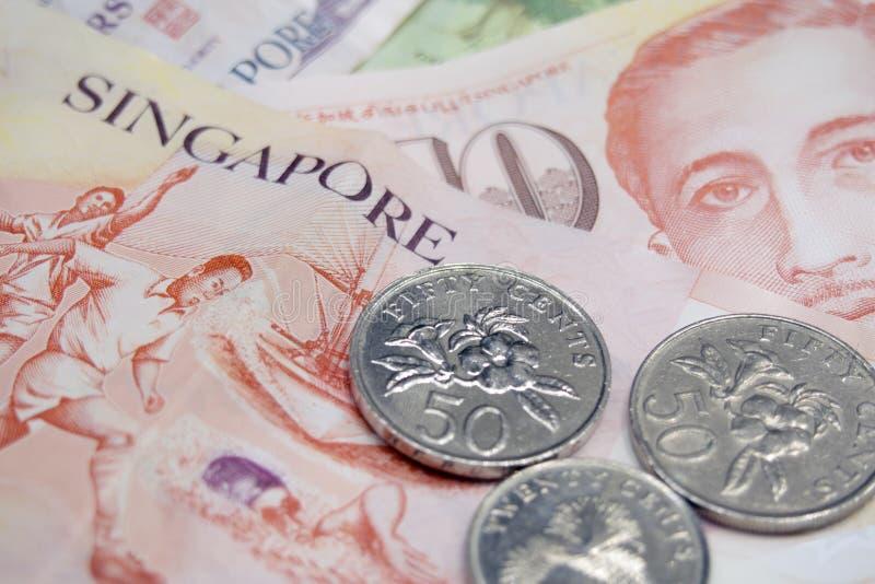 Singapore money. Singapore dollars and cents closeup stock photos
