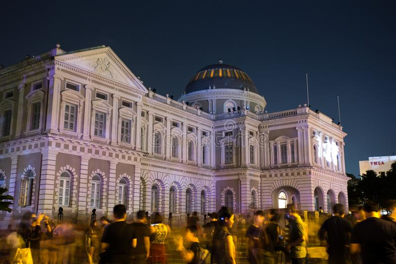 Singapore Museum - Night Festival. The Singapore museum crowd on annual night festival royalty free stock photography