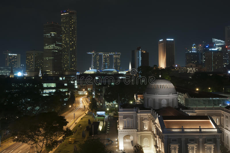 Singapore natt royaltyfria foton