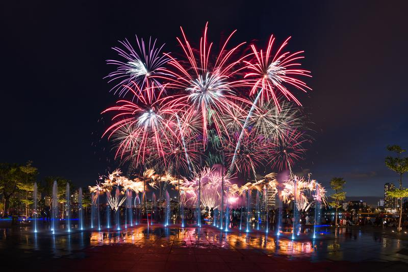 Singapore NDP Final Preview of Firework 2016 stock image