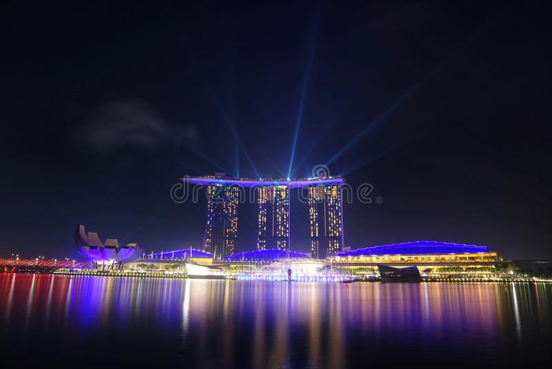 Singapore nella notte fotografia stock libera da diritti