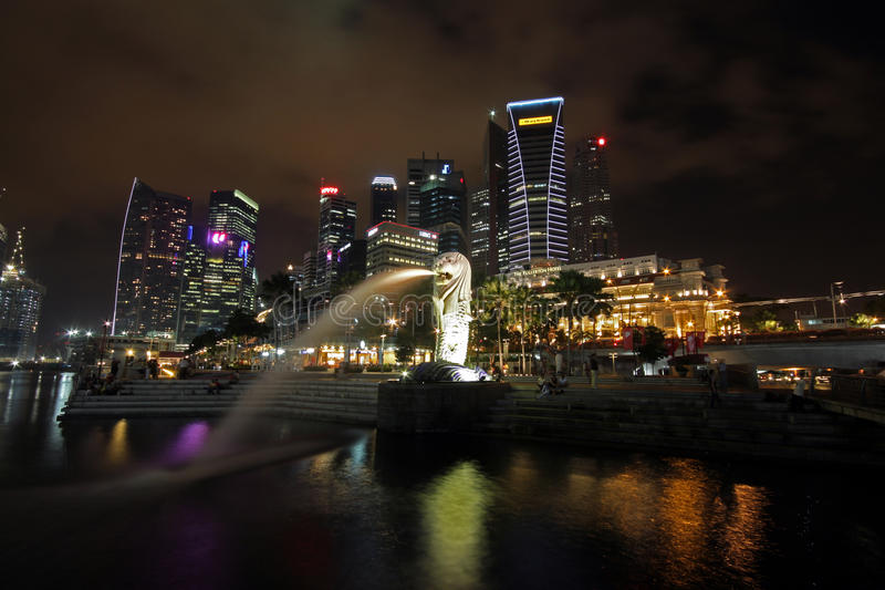Singapore at night stock photography