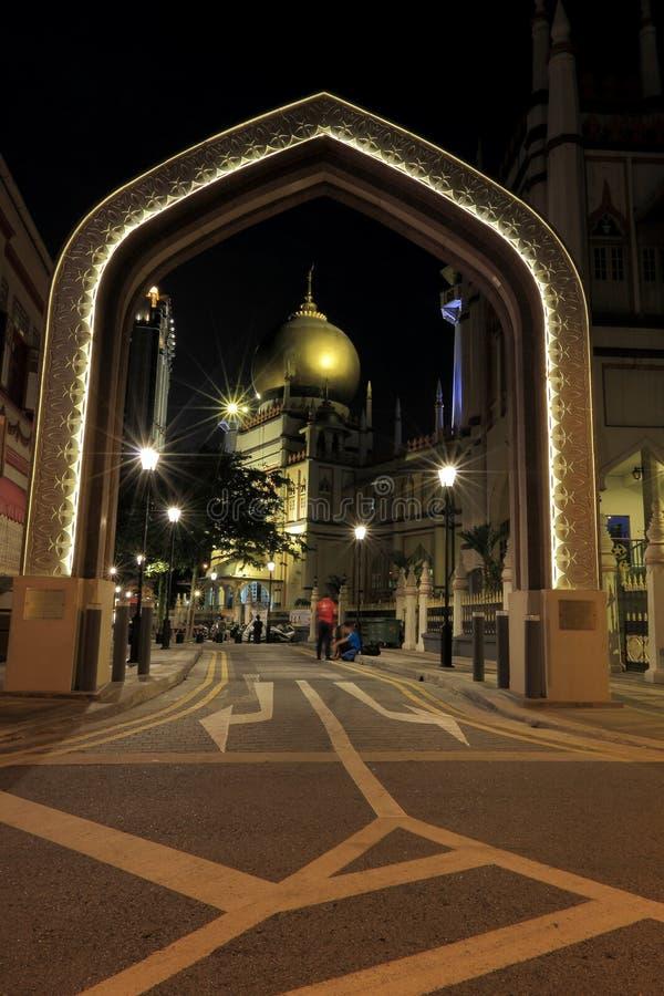 Singapore:Night shot of Masjid Sultan Singapura Mosque royalty free stock image