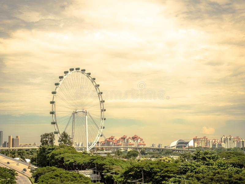 SINGAPORE - NOV 24, 2018: Singapore flyer, The Singapore Flyer is a giant Ferris wheel in Singapore.  stock photography