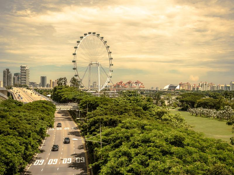 SINGAPORE - NOV 24, 2018: Singapore flyer, The Singapore Flyer is a giant Ferris wheel in Singapore.  stock images