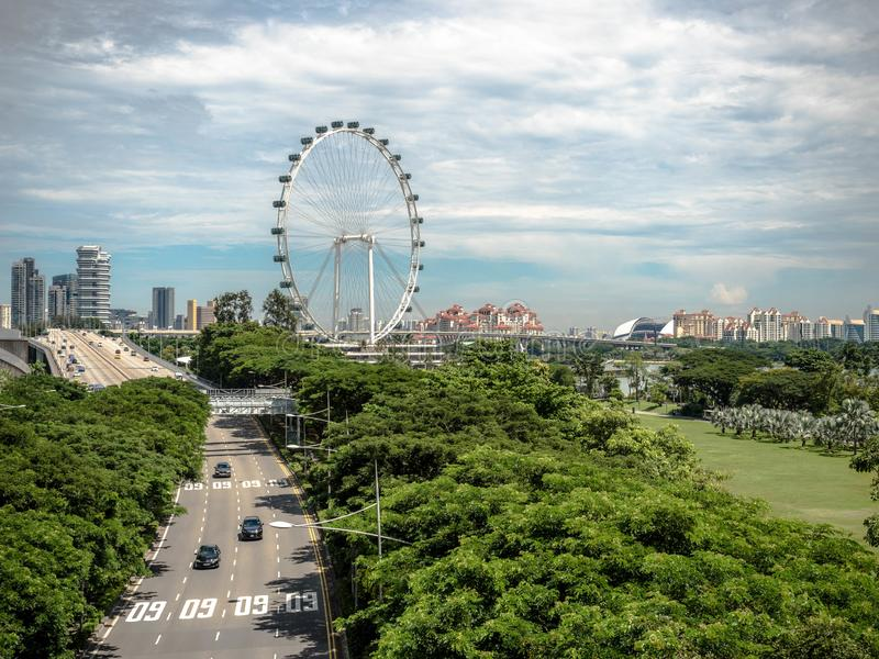 SINGAPORE - NOV 24, 2018: Singapore flyer, The Singapore Flyer is a giant Ferris wheel in Singapore.  royalty free stock photo