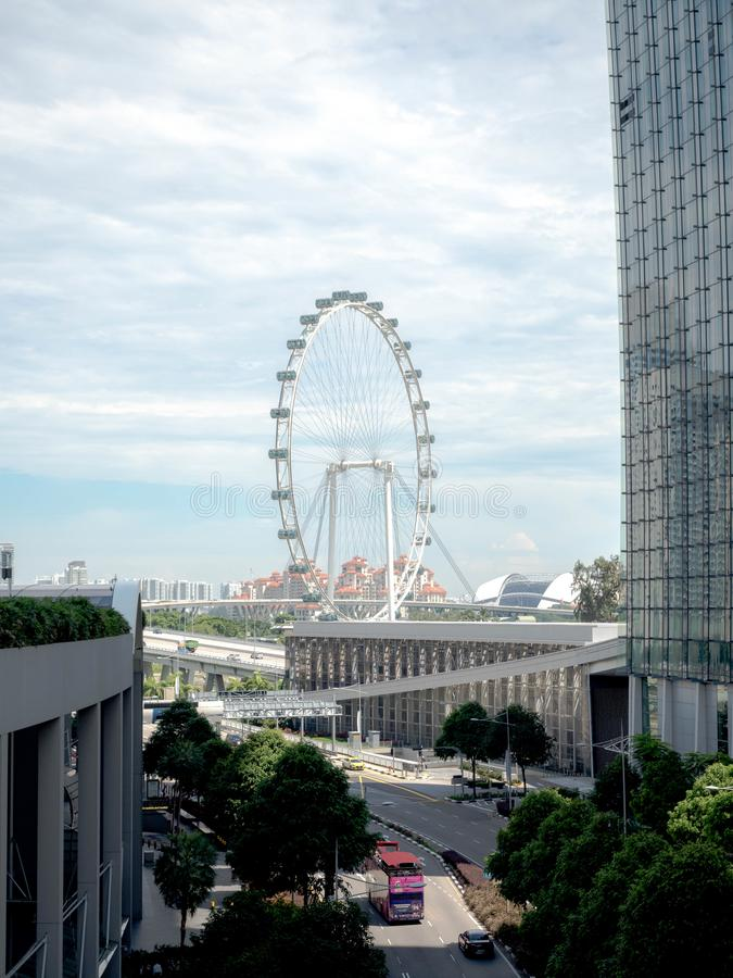 SINGAPORE - NOV 24, 2018: Singapore flyer, The Singapore Flyer is a giant Ferris wheel in Singapore.  royalty free stock photography