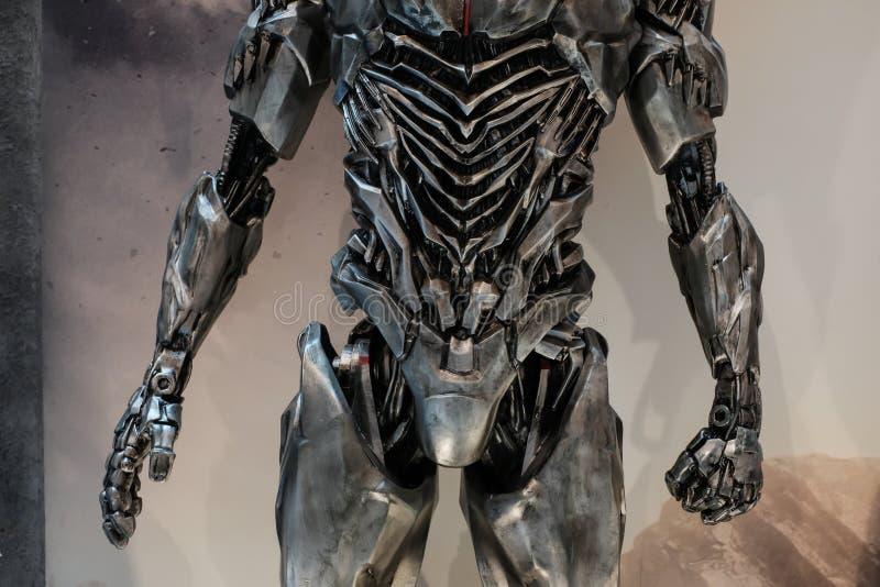Singapore-28 NOV 2017:hero Cyborg figure display in the shopping mall stock photos