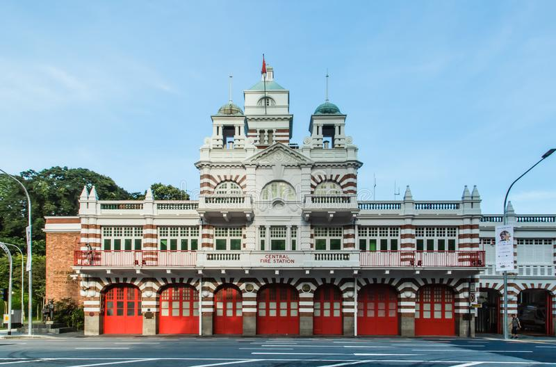 Singapore-18 NOV 2017:Singapore fire station old building facade day time view royalty free stock image
