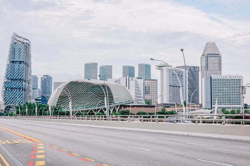 Traffic road at Esplanade bridge , Esplanade Theatres on the Bay is an international and local center for performance arts royalty free stock images
