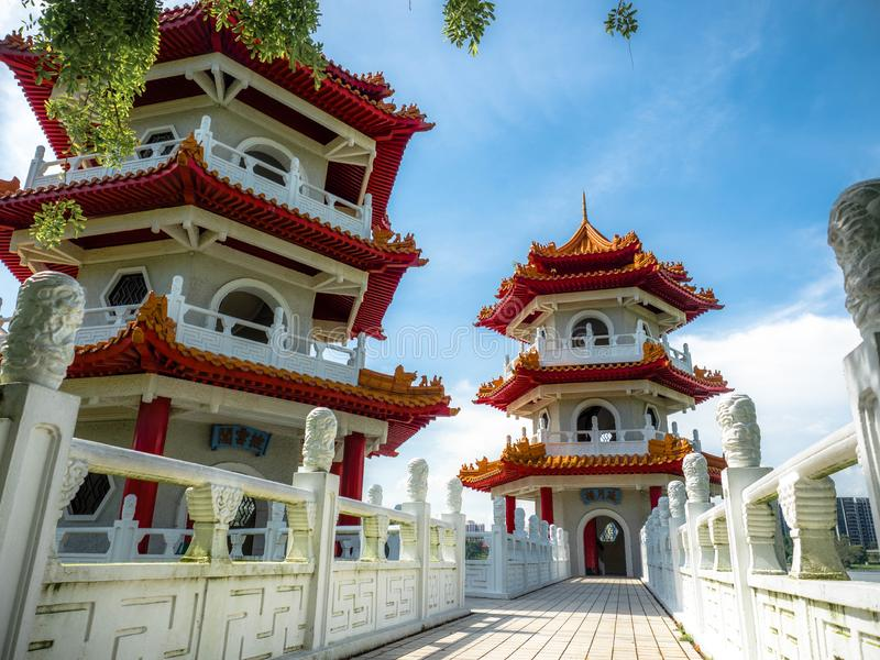 Singapore Nov 26, 2018: The Twin Pagodas on Jurong Lake, A beautiful chinese style building with blue sky in the Chinese Garden royalty free stock images