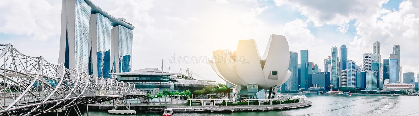 Vibrant panorama background of Marina Bay. Marina Bay is one of the most famous tourist attraction in Singapore royalty free stock photography