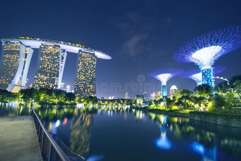 Marina Bay Sands Hotel and Supertree Grove stock images