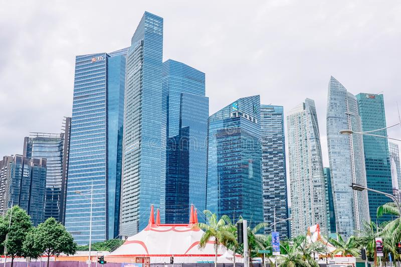 High-rise buildings in Singapore represent modern prosperity as the center of the economy stock photos