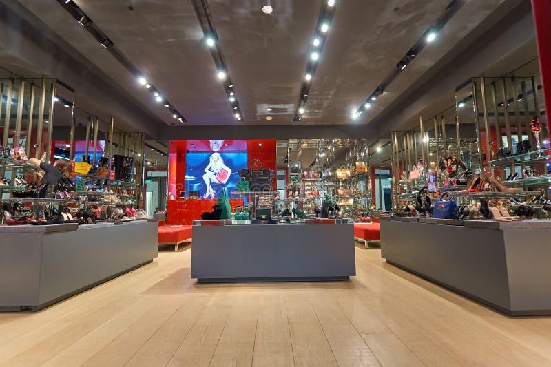 Kurt Geiger store. SINGAPORE - NOVEMBER 08, 2015: interior of Kurt Geiger store at The Shoppes at Marina Bay Sands. Kurt Geiger is a British footwear retailer stock image
