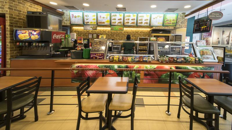 Subway fast food restaurant in Singapore royalty free stock photography