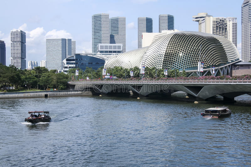 Singapore river esplanade theatre cityscape royalty free stock photography