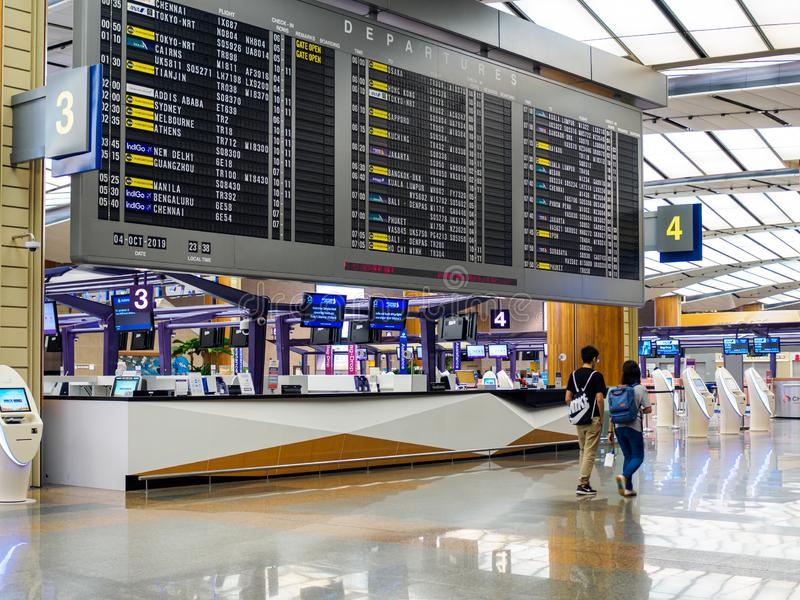 SINGAPORE - 4 OCT 2019 - Departure information board at Singapore Changi Airport Terminal 1 stock photo
