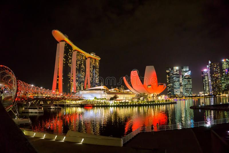 Singapore - Oct 11, 2018: Marina Bay Sands and Helix Bridge royalty free stock photos
