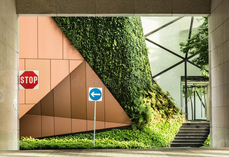 Singapore-17 OCT 2017: modern design style green wall building facade view stock image