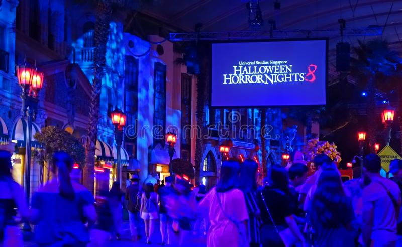 SINGAPORE - 16 OCTOBER 2018 : Horror Show at Universal Studio Halloween Horror Night 8th event, this festival opening at nights of. A SINGAPORE - 16 OCTOBER 2018 royalty free stock photo