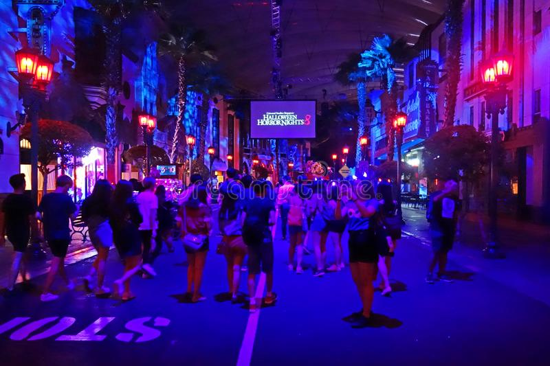 SINGAPORE - 16 OCTOBER 2018 : Horror Show at Universal Studio Halloween Horror Night 8th event, this festival opening at nights of. A SINGAPORE - 16 OCTOBER 2018 stock images